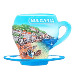 Магнитна релефна фигурка във формата на чаша за кафе с чинийка - морски мотиви, България
