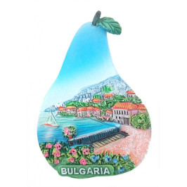 Магнитна релефна фигурка във формата на круша - морски мотиви - алея с къщи, България