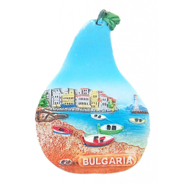 Магнитна релефна фигурка във формата на круша - морски мотиви - лодки и фар, България