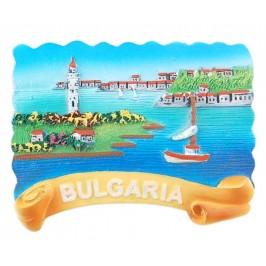 Магнитна релефна фигурка с морски мотиви - лодки и фар, България