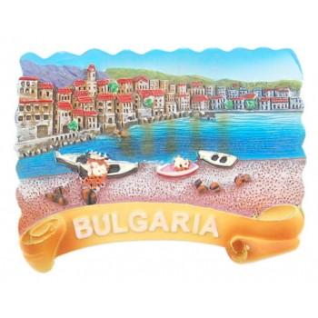 Магнитна релефна фигурка с морски мотиви - лодки и къщички, България