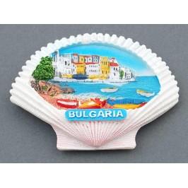 Магнитна релефна фигурка във формата на мида с морски мотиви - лодки и къщички, България