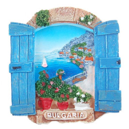 Магнитна релефна фигурка във формата на прозорец с морски изглед, България