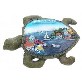 Релефна фигурка с магнит във формата на костенурка - морски мотиви - лодки и къщи, България