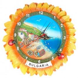 Сувенирен стенен часовник във формата на слънчоглед с калинки - морски мотиви, България