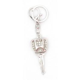 Ключодържател във формата на ключ с емблема на Honda, декориран с бели камъни