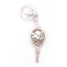 Ключодържател във формата на ключ с емблема на Peugeot, декориран с бели камъни