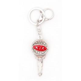 Ключодържател във формата на ключ с емблема на Kia, декориран с бели камъни