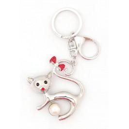 Ключодържател във формата на котка, декориран с камъчета и седеф