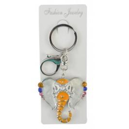Сувенирен ключодържател във формата на глава на слон, инкрустирана с цветни камъни