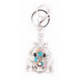 Ключодържател във формата на жаба, декориран с камъчета и седеф