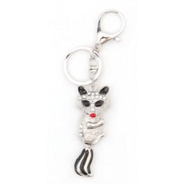 Ключодържател във формата на лисица, декориран с камъчета