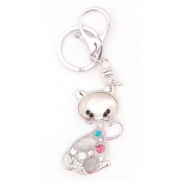 Ключодържател с фигурка - котка, декориран с камъчета и седеф