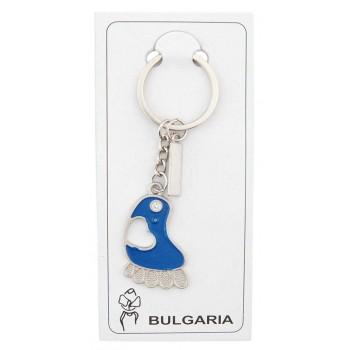 Сувенирен метален ключодържател - синьо стъпало със сърце и камъче