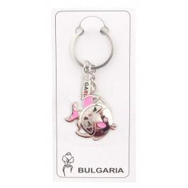 Сувенирен метален ключодържател - рибка с розови перки