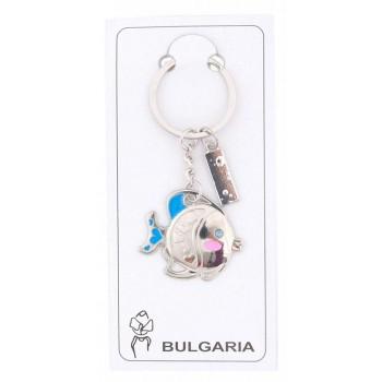 Сувенирен метален ключодържател - рибка със сини перки