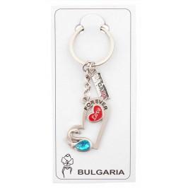 Сувенирен метален ключодържател - лебед със сърце и синьо камъче