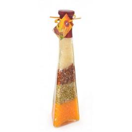 Сувенирна стъклена бутилка - различни цветни зърна