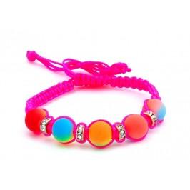 Плетена гривна с цветни топчета и пръстени