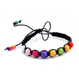 Плетена гривна с цветни топчета