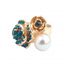 Пръстен с фигурка - цветя с камъчета и перла