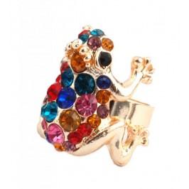 Пръстен с фигурка - жабка с камъчета