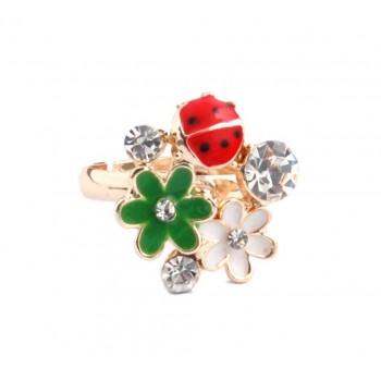 Пръстен с фигурка - цветя, калинка и камъчета