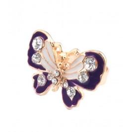 Пръстен с фигурка - пеперуда с камъчета