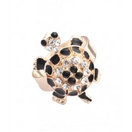 Пръстен с фигурка - костенурка с камъчета