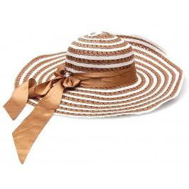 Красива шапка с голяма периферия, декорирана с панделка и камъче