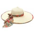 Дамска шапка с голяма периферия и цветна лента