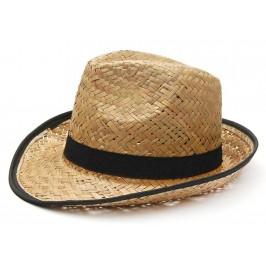 Плетена шапка - бомбе с черни ленти