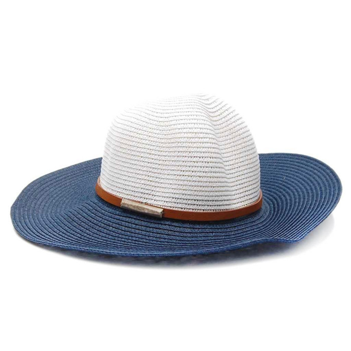 Плетена дамска шапка с тъмно синя периферия