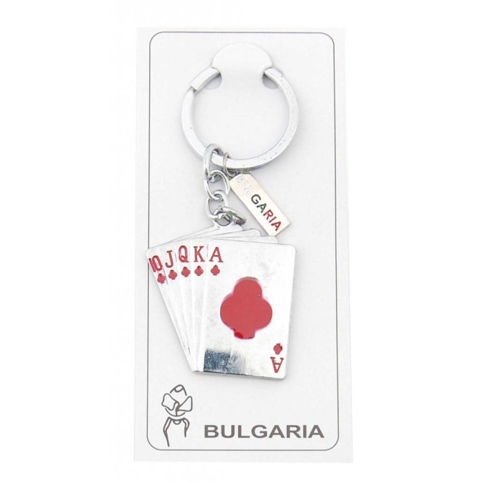 Сувенирен метален ключодържател с фигурка - карти за игра