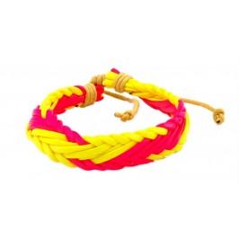 Плетена кожена гривна - цветна