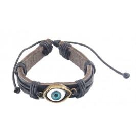 Кожена гривна с метален елемент - око