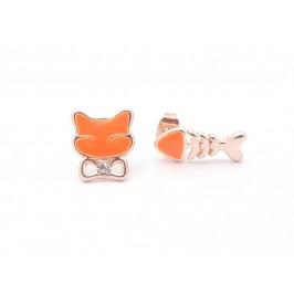Цветни обици с фигурка - котка и рибка