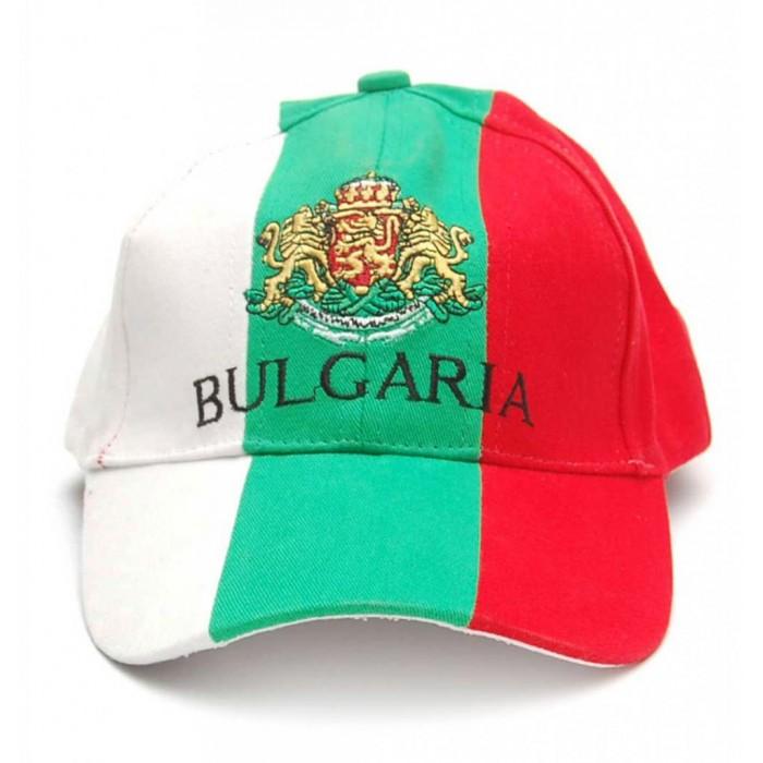 Спортна лятна шапка с козирка в цветовете на българския трикольор с герба