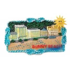 Магнитна релефна пластинка с декоративна фигурка - слънце върху пружина