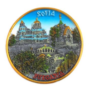 Релефна сувенирна чинийка с магнит - забележителности в София