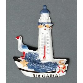Магнитна релефна фигурка във формата на лодка с фар и чайка - България