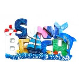Магнитна релефна фигурка с надпис Слънчев бряг - морски мотиви