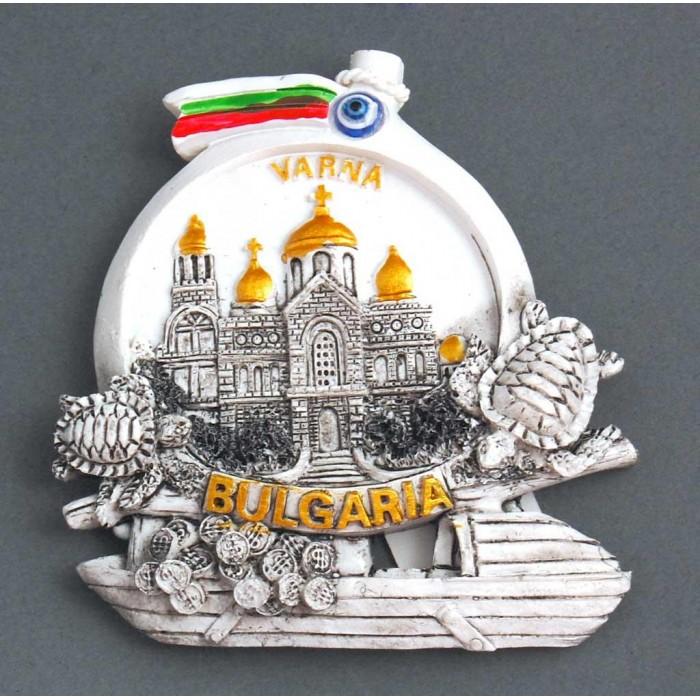 Сувенирна релефна фигурка с магнит във формата на лодка с костенурки - катедралата във Варна