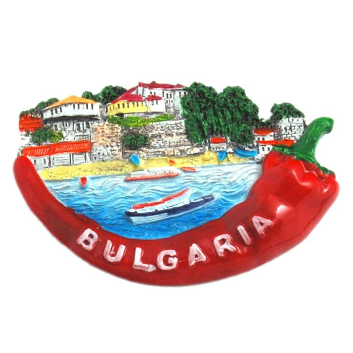 Декоративна релефна фигурка във формата на люта чушка - морски мотиви, България