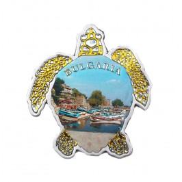 Сувенирна магнитна пластинка във формата на костенурка - капитанска среща, Несебър