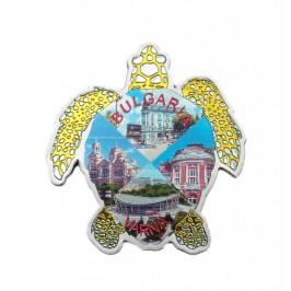 Сувенирна магнитна пластинка във формата на костенурка - забележителности във Варна