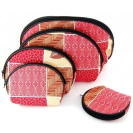 Комплект от пет броя текстилни козметични чантички с различна големина