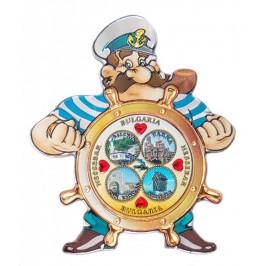 Релефна магнитна пластинка във формата на капитан зад руля - Варна, Несебър, Калиакра, и Балчик