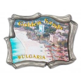 Декоративна метална пластинка с магнит - морски пейзаж, Златни пясъци