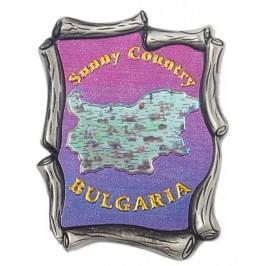 Декоративна метална пластинка с магнит - карта на България със забележителности